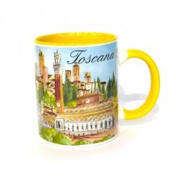 Tazza in ceramica Toscana multiveduta colore giallo