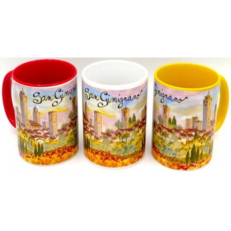 Mug in ceramica di San gimignano al tramonto