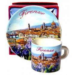 Set caffè da souvenir con il panorama di Firenze FI20