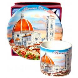 Set da caffé da souvenir con il Duomo al tramonto FI31