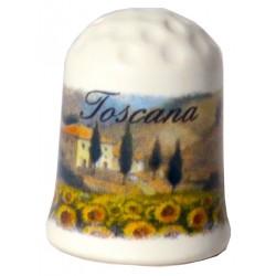 Ditale in ceramica con la campagna toscana TS1